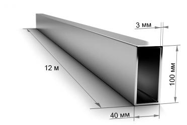 Труба профильная 100х40х3 мм 12 метров
