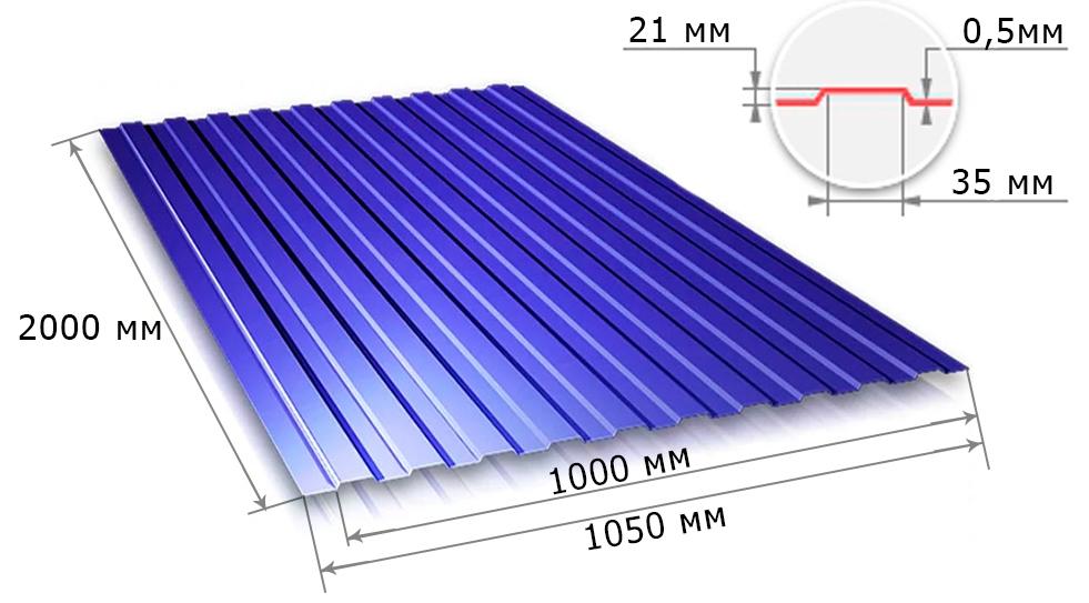 С21 0,5x1000x2000 RAL 5005 синий
