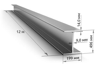Балка двутавровая 50Б2 09Г2С 12 метров