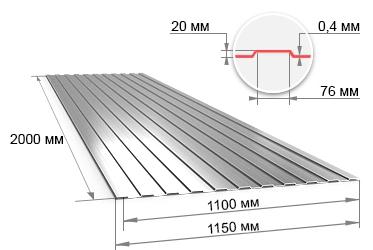Профнастил оцинкованный С20 0.4х1100х2000 мм