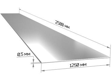 Лист оцинкованный 0.5х1250х2500 мм
