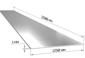 Лист оцинкованный 1х1250х2500 мм