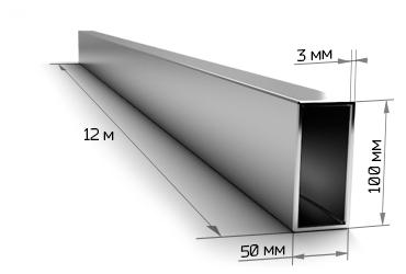 Труба профильная 100х50х3 мм 12 метров