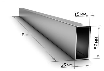 Труба профильная 50х25х1.5 мм 6 метров
