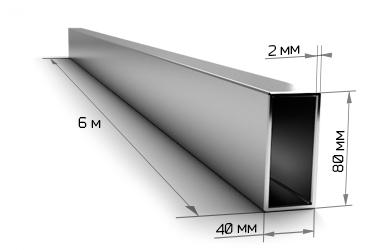Труба профильная 80х40х2 мм 6 метров