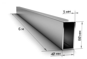 Труба профильная 80х40х3 мм 6 метров