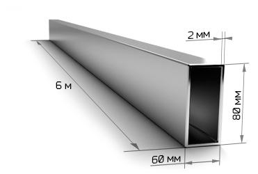 Труба профильная 80х60х2 мм 6 метров