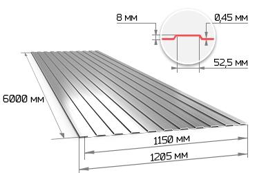 Профнастил оцинкованный С8 0.45х1150х6000 мм