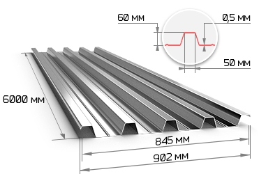 Профнастил оцинкованный Н60 0.5х845х6000 мм