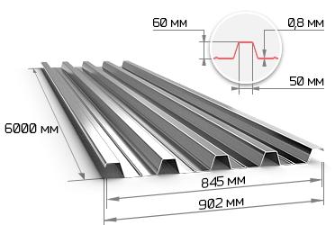 Профнастил оцинкованный Н60 0.8х845х6000 мм