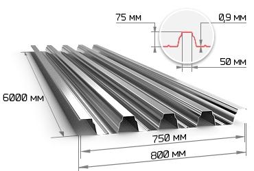 Профнастил оцинкованный Н75 0.9х750х6000 мм
