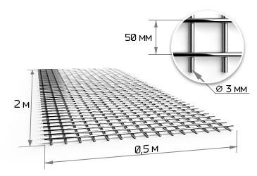 Сетка сварная 50х50х3 мм в картах 0,5х2м