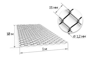 Сетка рабица 15х15х1.2 мм в рулонах 1х10м