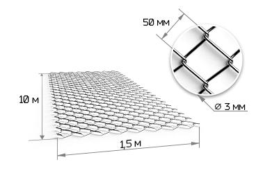 Сетка рабица 50х50х1.8 мм оцинкованная в рулонах 1х15м