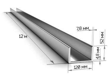 Швеллер 12П стальной 12 метров