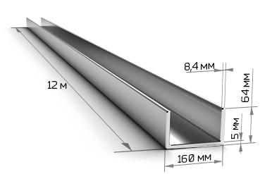 Швеллер 16П стальной 12 метров