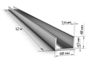 Швеллер 8П стальной 12 метров
